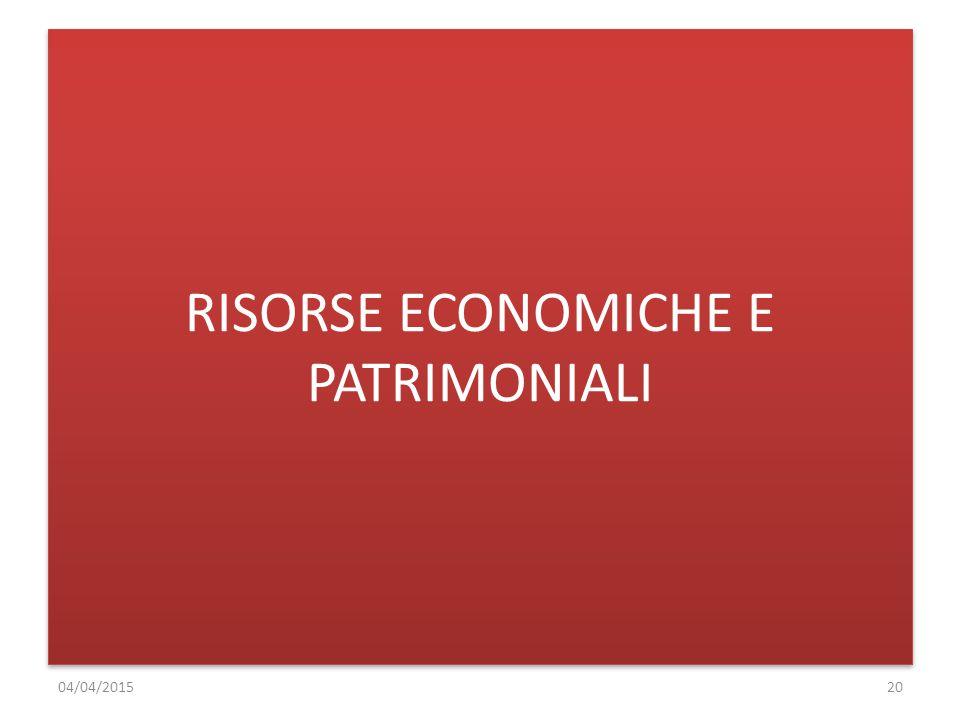 RISORSE ECONOMICHE E PATRIMONIALI 04/04/201520