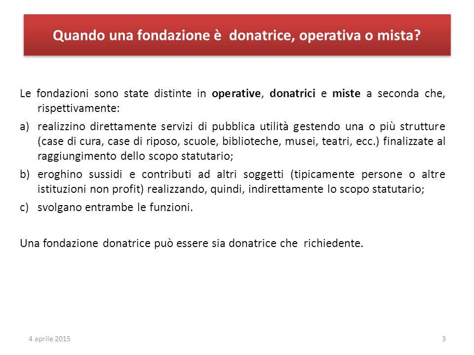 Quando una fondazione è donatrice, operativa o mista? Le fondazioni sono state distinte in operative, donatrici e miste a seconda che, rispettivamente