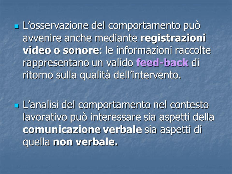 L'osservazione del comportamento può avvenire anche mediante registrazioni video o sonore: le informazioni raccolte rappresentano un valido feed-back di ritorno sulla qualità dell'intervento.
