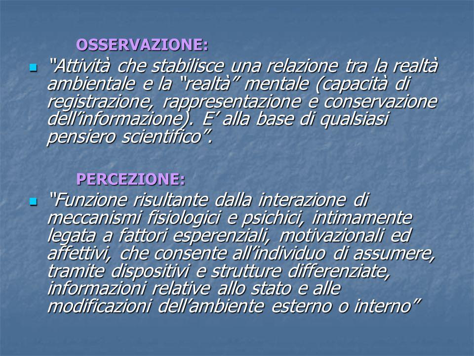 OSSERVAZIONE: Attività che stabilisce una relazione tra la realtà ambientale e la realtà mentale (capacità di registrazione, rappresentazione e conservazione dell'informazione).