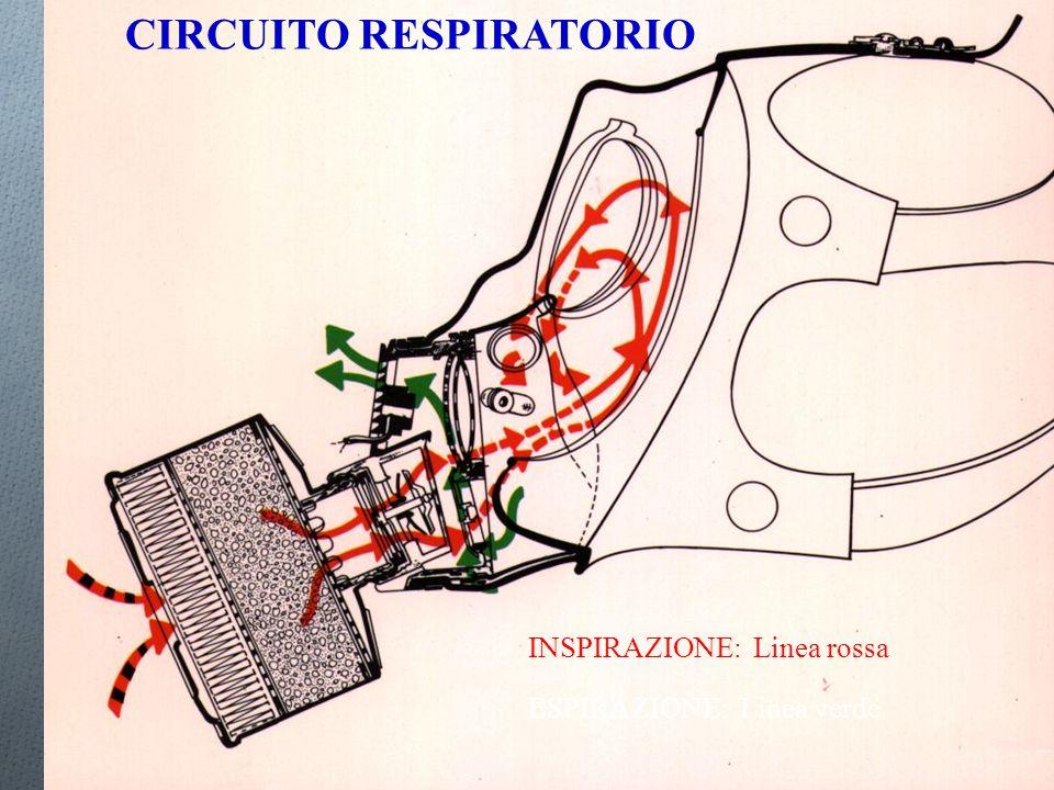 CIRCUITO RESPIRATORIO INSPIRAZIONE: Linea rossa ESPIRAZIONE: Linea verde