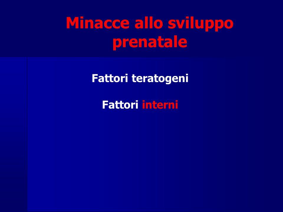 Minacce allo sviluppo prenatale Fattori teratogeni Fattori interni