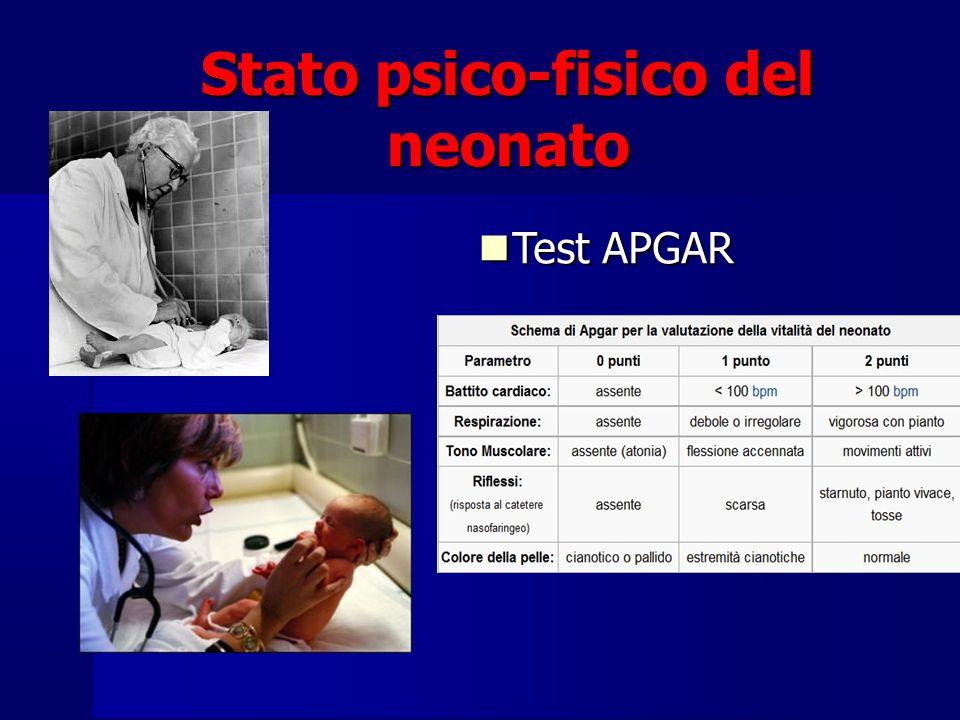 Stato psico-fisico del neonato Test APGAR Test APGAR
