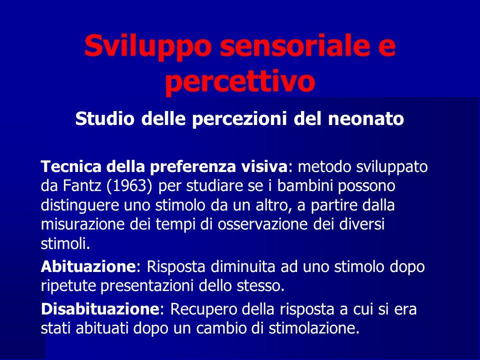 Sviluppo sensoriale e percettivo Studio delle percezioni del neonato Tecnica della preferenza visiva: metodo sviluppato da Fantz (1963) per studiare se i bambini possono distinguere uno stimolo da un altro, a partire dalla misurazione dei tempi di osservazione dei diversi stimoli.