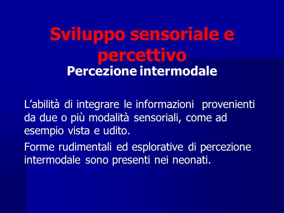 Sviluppo sensoriale e percettivo Percezione intermodale L'abilità di integrare le informazioni provenienti da due o più modalità sensoriali, come ad esempio vista e udito.