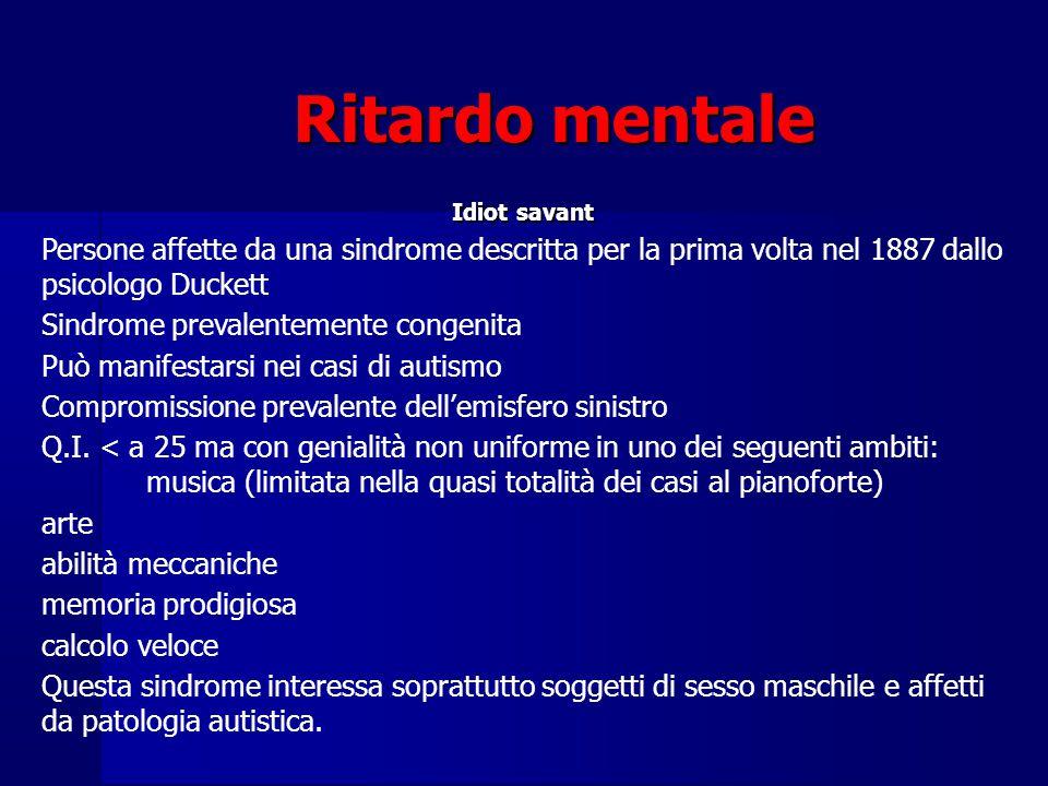 Ritardo mentale Idiot savant Persone affette da una sindrome descritta per la prima volta nel 1887 dallo psicologo Duckett Sindrome prevalentemente congenita Può manifestarsi nei casi di autismo Compromissione prevalente dell'emisfero sinistro Q.I.