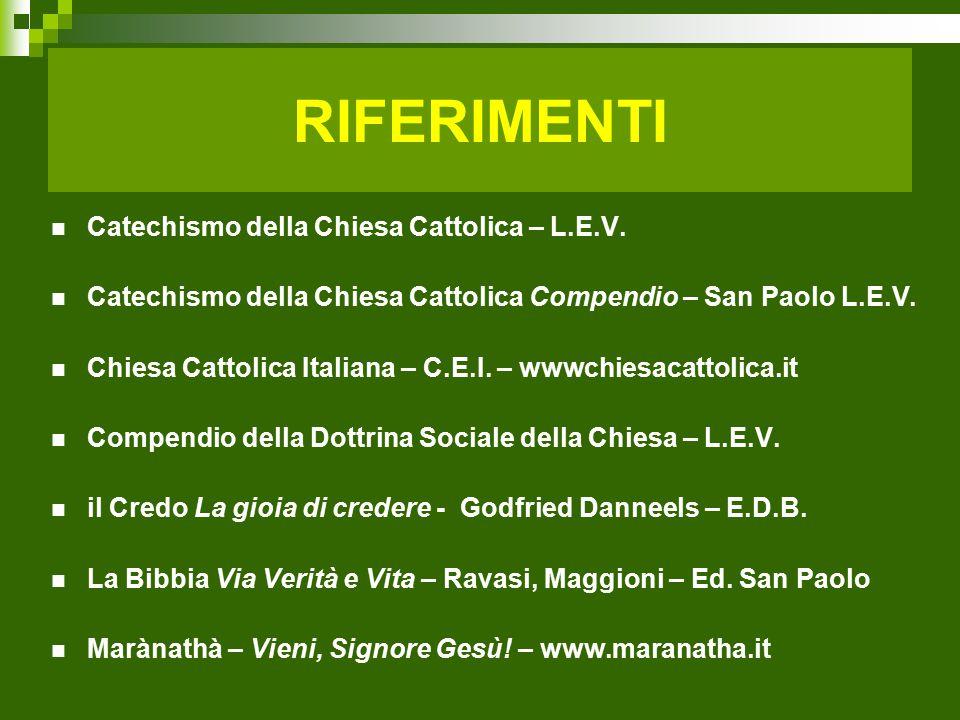 RIFERIMENTI Catechismo della Chiesa Cattolica – L.E.V.