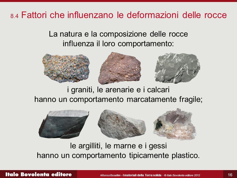 Alfonso Bosellini – I materiali della Terra solida - © Italo Bovolenta editore 2012 16 8.4 Fattori che influenzano le deformazioni delle rocce La natu
