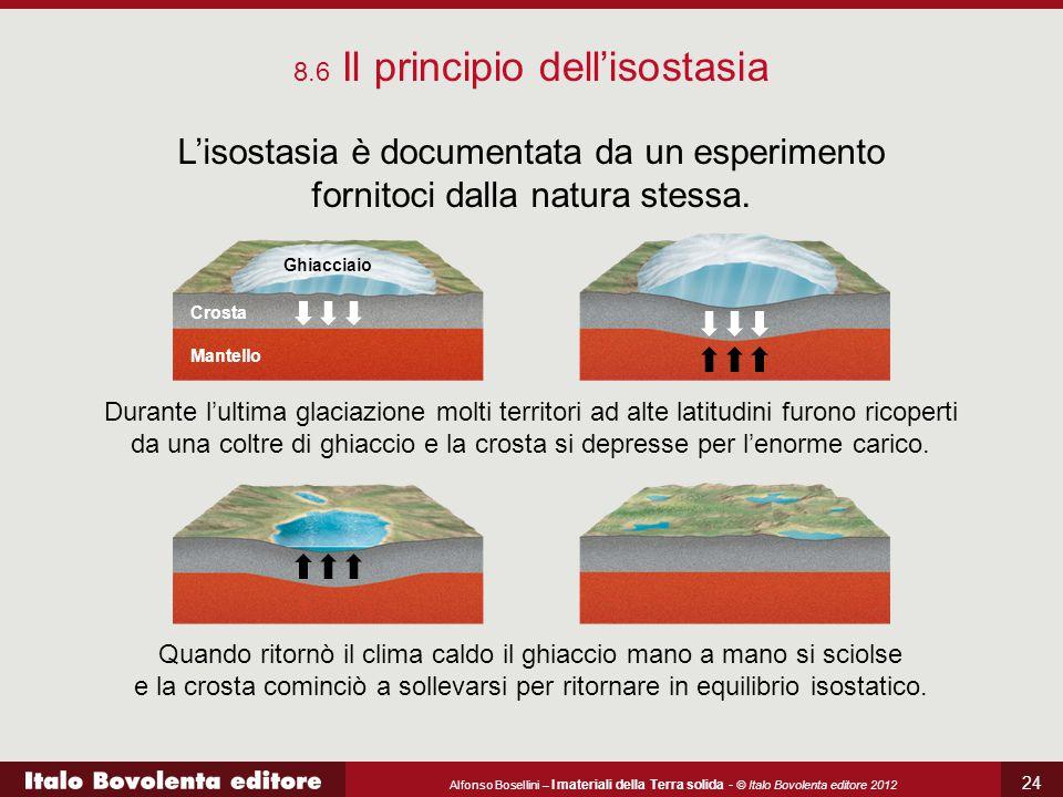 Alfonso Bosellini – I materiali della Terra solida - © Italo Bovolenta editore 2012 24 8.6 Il principio dell'isostasia L'isostasia è documentata da un