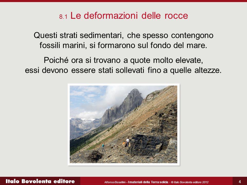 Alfonso Bosellini – I materiali della Terra solida - © Italo Bovolenta editore 2012 4 8.1 Le deformazioni delle rocce Questi strati sedimentari, che s