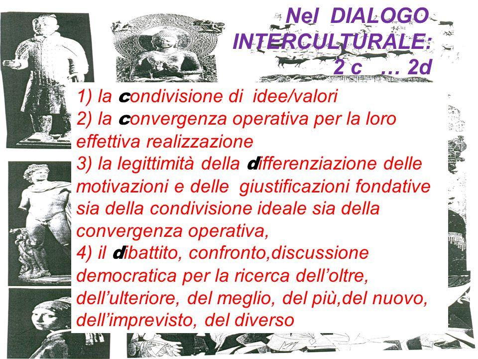 1) la c ondivisione di idee/valori 2) la c onvergenza operativa per la loro effettiva realizzazione 3) la legittimità della d ifferenziazione delle motivazioni e delle giustificazioni fondative sia della condivisione ideale sia della convergenza operativa, 4) il d ibattito, confronto,discussione democratica per la ricerca dell'oltre, dell'ulteriore, del meglio, del più,del nuovo, dell'imprevisto, del diverso Nel DIALOGO INTERCULTURALE: 2 c … 2d