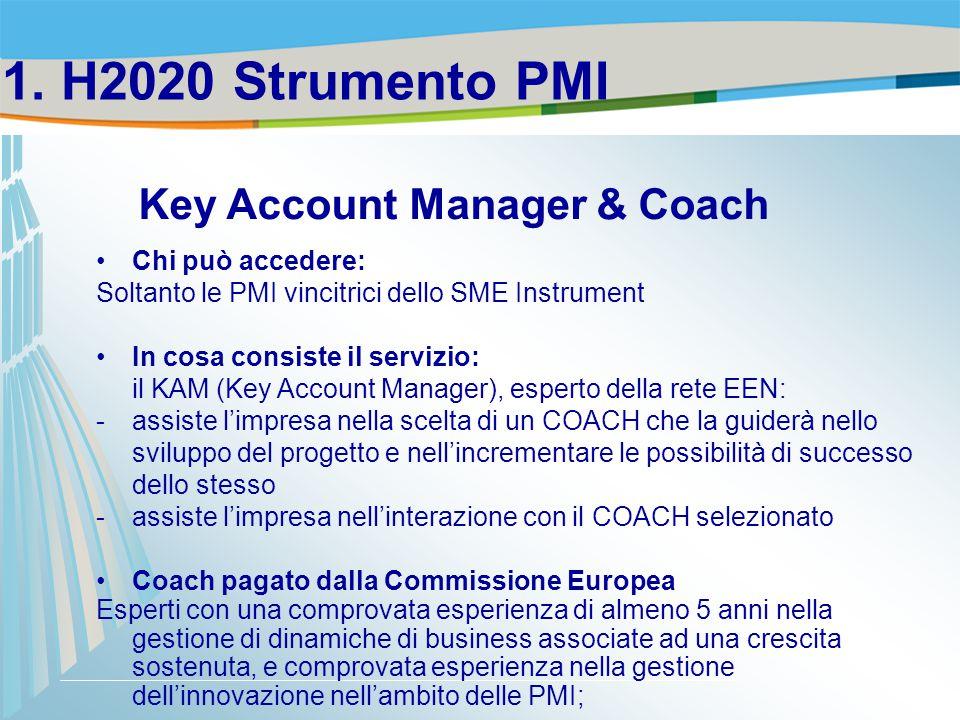 Chi può accedere: Soltanto le PMI vincitrici dello SME Instrument In cosa consiste il servizio: il KAM (Key Account Manager), esperto della rete EEN: