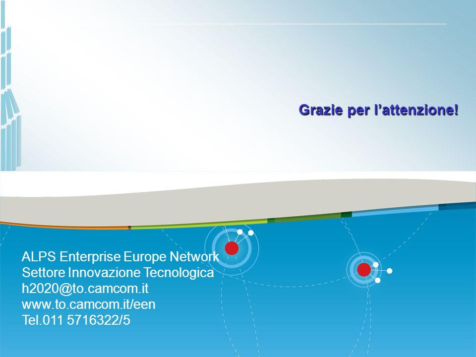 Grazie per l'attenzione! ALPS Enterprise Europe Network Settore Innovazione Tecnologica h2020@to.camcom.it www.to.camcom.it/een Tel.011 5716322/5
