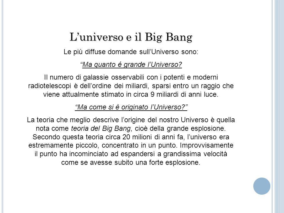 """L'universo e il Big Bang Le più diffuse domande sull'Universo sono: """"Ma quanto é grande l'Universo? Il numero di galassie osservabili con i potenti e"""