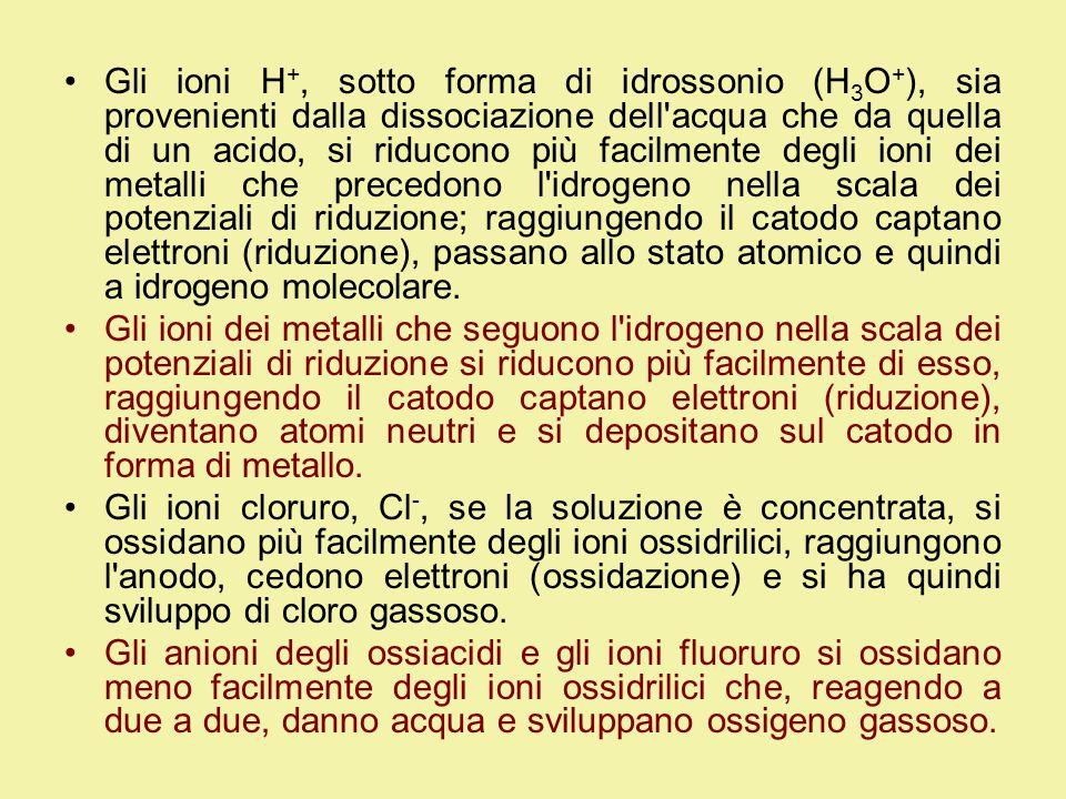 Gli ioni H +, sotto forma di idrossonio (H 3 O + ), sia provenienti dalla dissociazione dell acqua che da quella di un acido, si riducono più facilmente degli ioni dei metalli che precedono l idrogeno nella scala dei potenziali di riduzione; raggiungendo il catodo captano elettroni (riduzione), passano allo stato atomico e quindi a idrogeno molecolare.