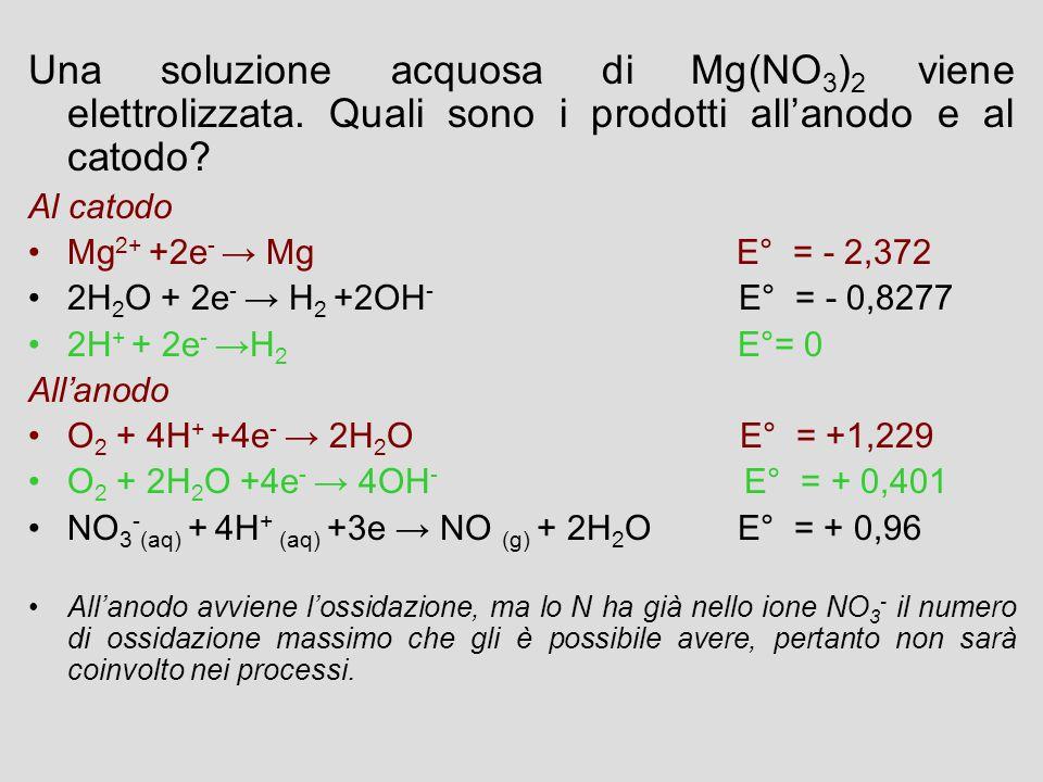 Una soluzione acquosa di Mg(NO 3 ) 2 viene elettrolizzata. Quali sono i prodotti all'anodo e al catodo? Al catodo Mg 2+ +2e - → Mg E° = - 2,372 2H 2 O