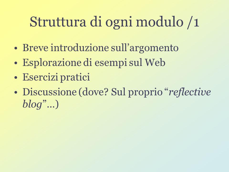 Struttura di ogni modulo /1 Breve introduzione sull'argomento Esplorazione di esempi sul Web Esercizi pratici Discussione (dove.