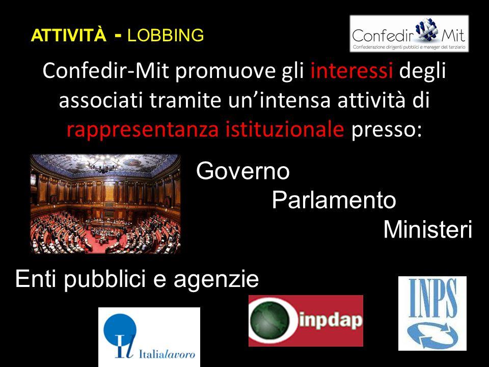 ATTIVITÀ - LOBBING Confedir-Mit promuove gli interessi degli associati tramite un'intensa attività di rappresentanza istituzionale presso: Governo Parlamento Ministeri Enti pubblici e agenzie