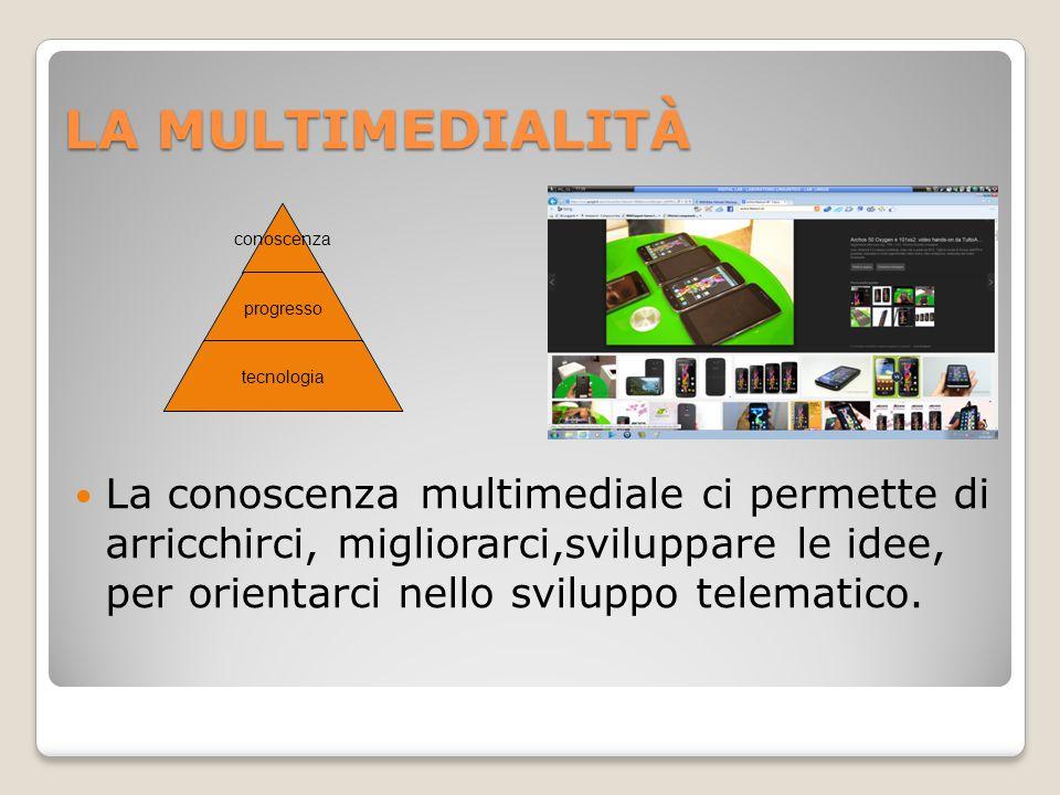 LA MULTIMEDIALITÀ conoscenza progresso tecnologia La conoscenza multimediale ci permette di arricchirci, migliorarci,sviluppare le idee, per orientarci nello sviluppo telematico.