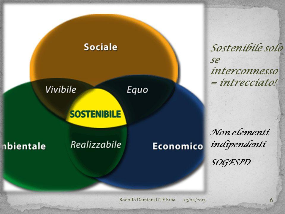 Ma Visione Sistemica Per la Sostenibilità Dello sviluppo 23/04/2013Rodolfo Damiani UTE Erba 7
