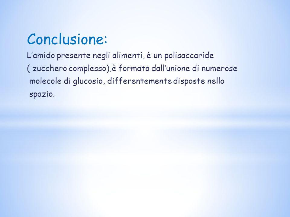 Conclusione: L'amido presente negli alimenti, è un polisaccaride ( zucchero complesso),è formato dall'unione di numerose molecole di glucosio, differentemente disposte nello spazio.