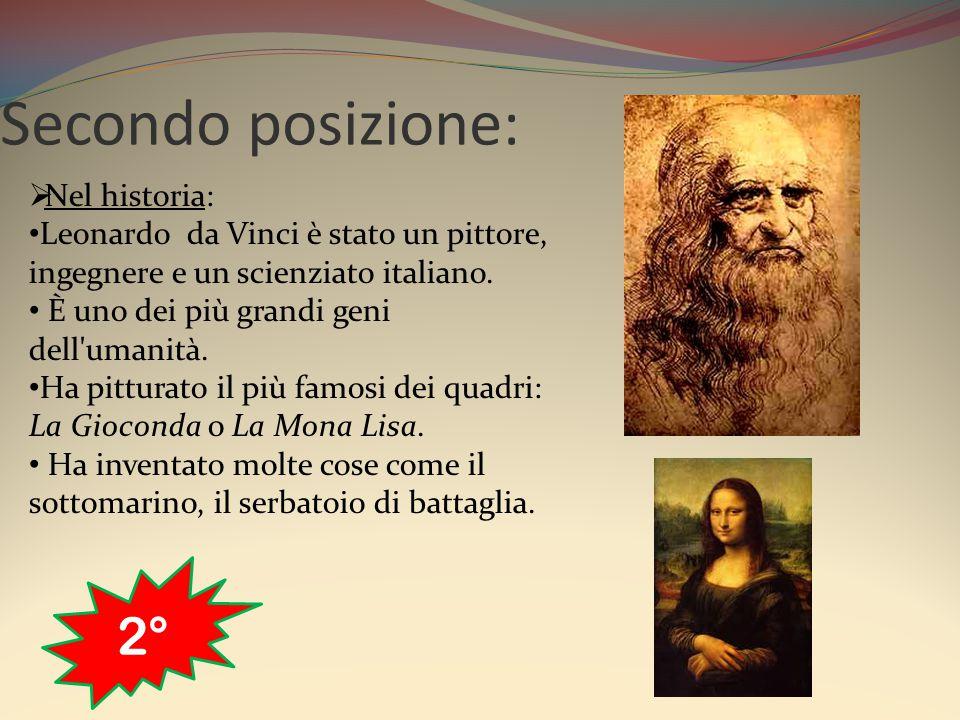 Secondo posizione:  Nel historia: Leonardo da Vinci è stato un pittore, ingegnere e un scienziato italiano. È uno dei più grandi geni dell'umanità. H