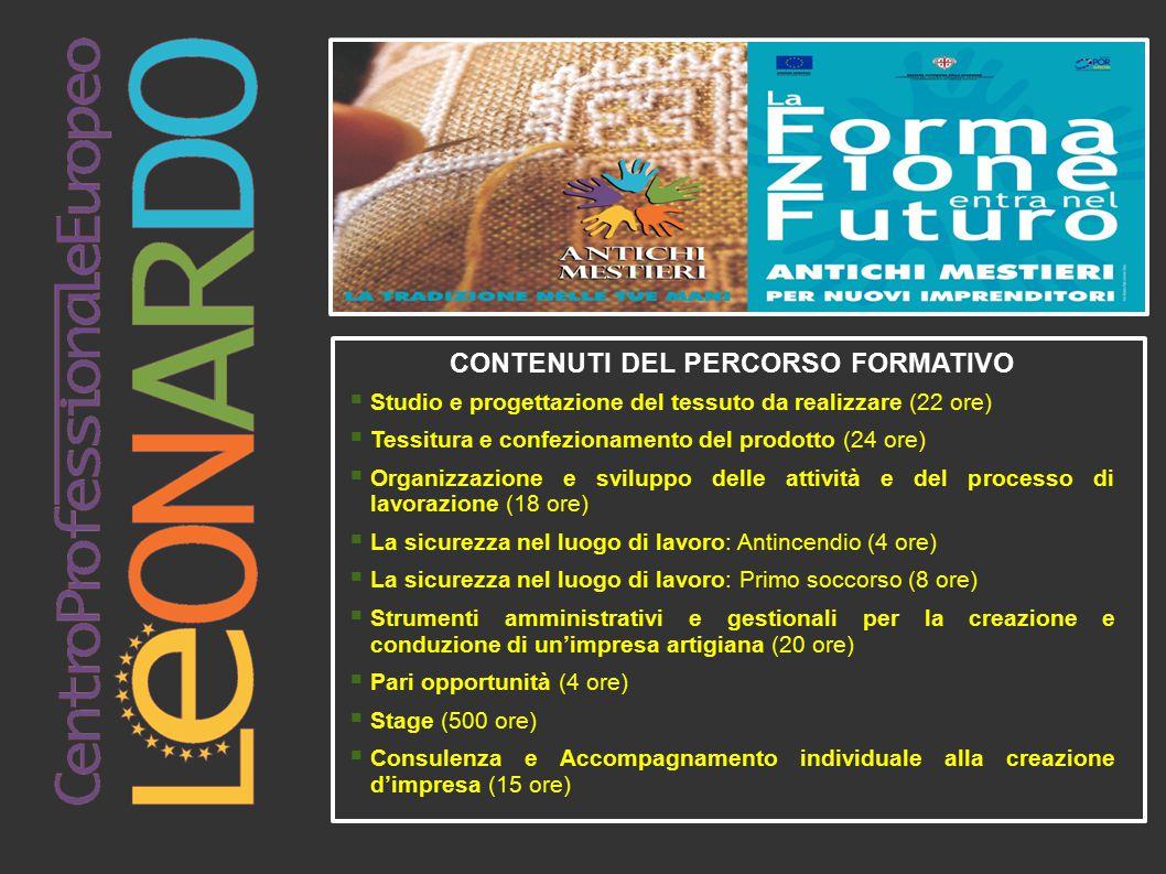 CONTENUTI DEL PERCORSO FORMATIVO  Studio e progettazione del tessuto da realizzare (22 ore)  Tessitura e confezionamento del prodotto (24 ore)  Org