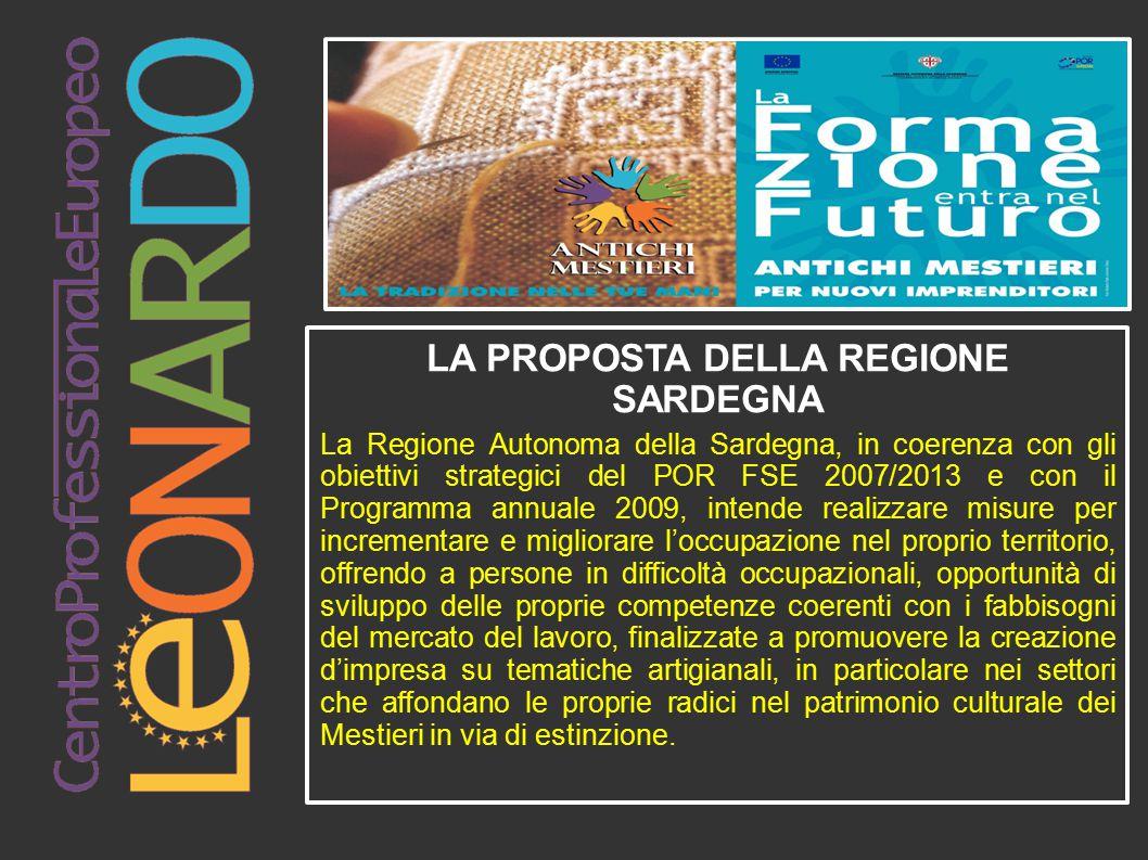 LA PROPOSTA DELLA REGIONE SARDEGNA La Regione Autonoma della Sardegna, in coerenza con gli obiettivi strategici del POR FSE 2007/2013 e con il Program