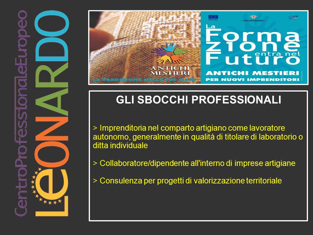 GLI SBOCCHI PROFESSIONALI > Imprenditoria nel comparto artigiano come lavoratore autonomo, generalmente in qualità di titolare di laboratorio o ditta