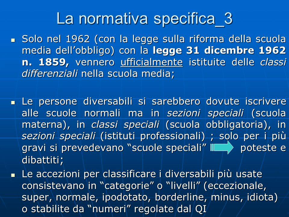 La normativa specifica_3 Solo nel 1962 (con la legge sulla riforma della scuola media dell'obbligo) con la legge 31 dicembre 1962 n.