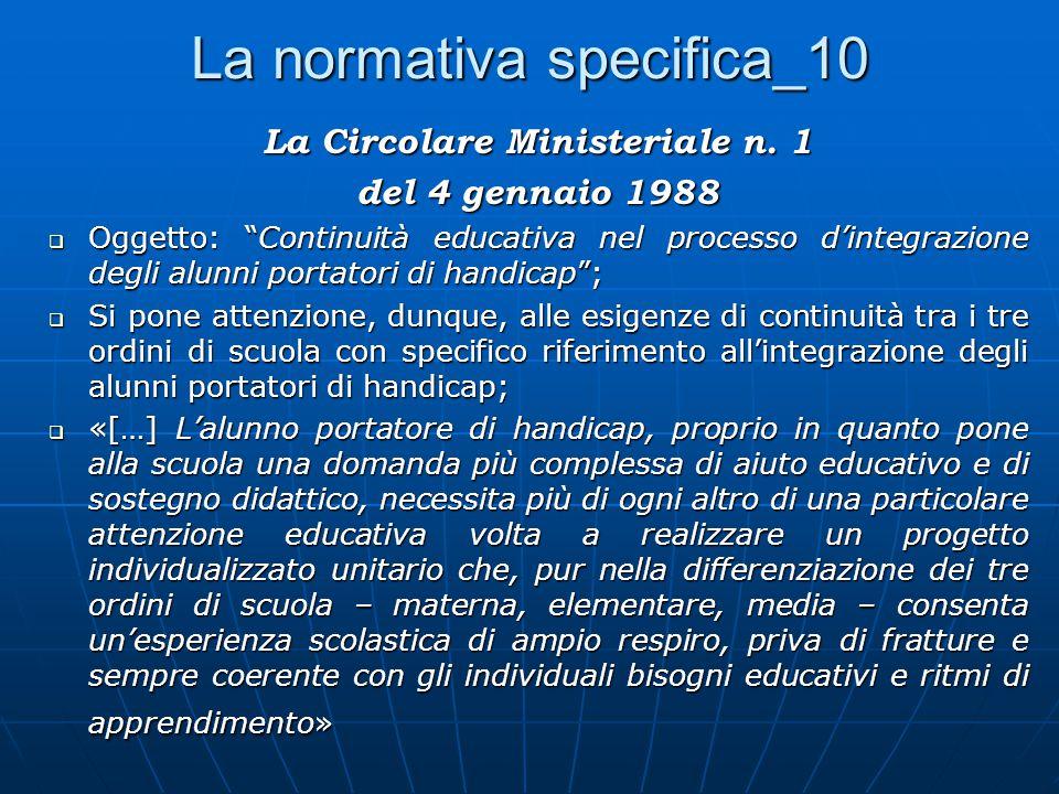 La normativa specifica_10 La Circolare Ministeriale n.