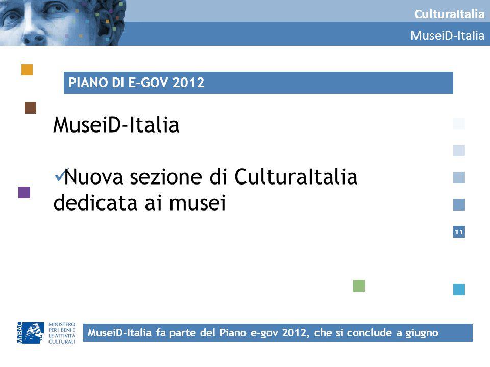 11 CulturaItalia MuseiD-Italia Nuova sezione di CulturaItalia dedicata ai musei MuseiD-Italia fa parte del Piano e-gov 2012, che si conclude a giugno PIANO DI E-GOV 2012