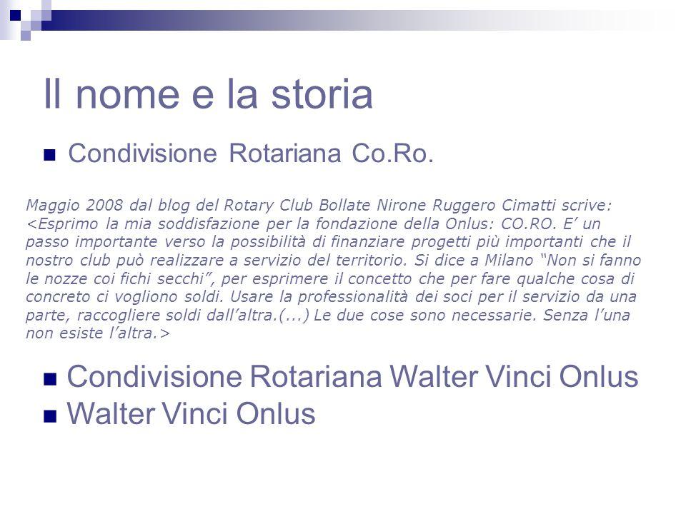 Il nome e la storia Condivisione Rotariana Co.Ro.