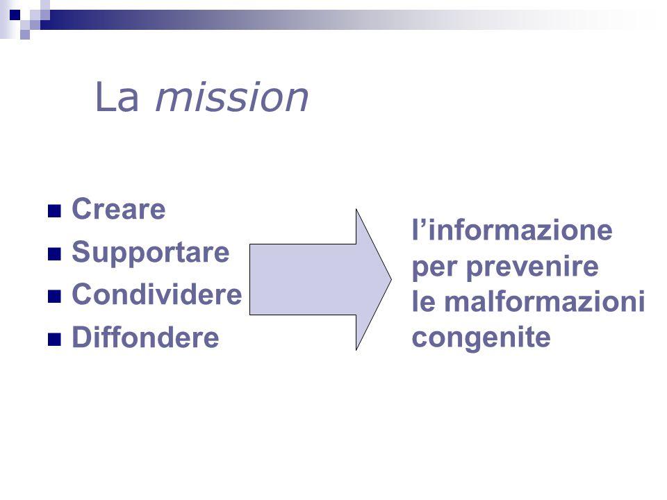 La mission Creare Supportare Condividere Diffondere l'informazione per prevenire le malformazioni congenite