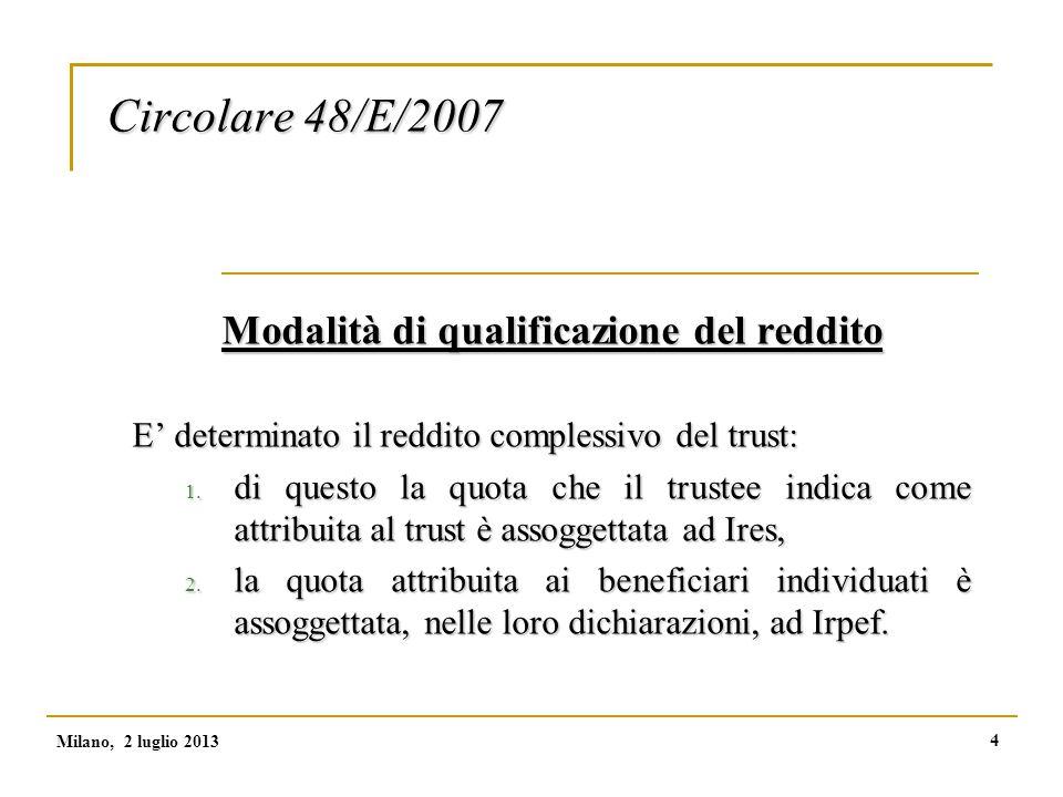 4 Circolare 48/E/2007 Modalità di qualificazione del reddito E' determinato il reddito complessivo del trust: 1.