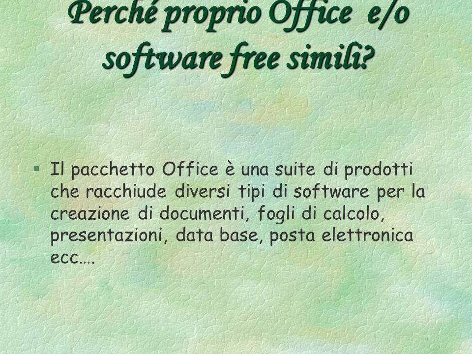 Perché proprio Office e/o software free simili.