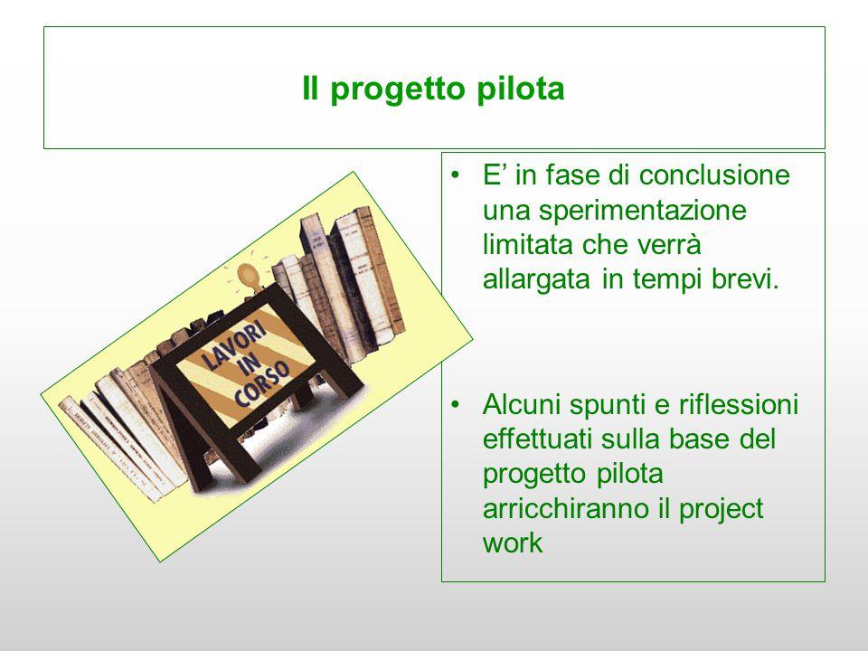 Il progetto pilota E' in fase di conclusione una sperimentazione limitata che verrà allargata in tempi brevi. Alcuni spunti e riflessioni effettuati s