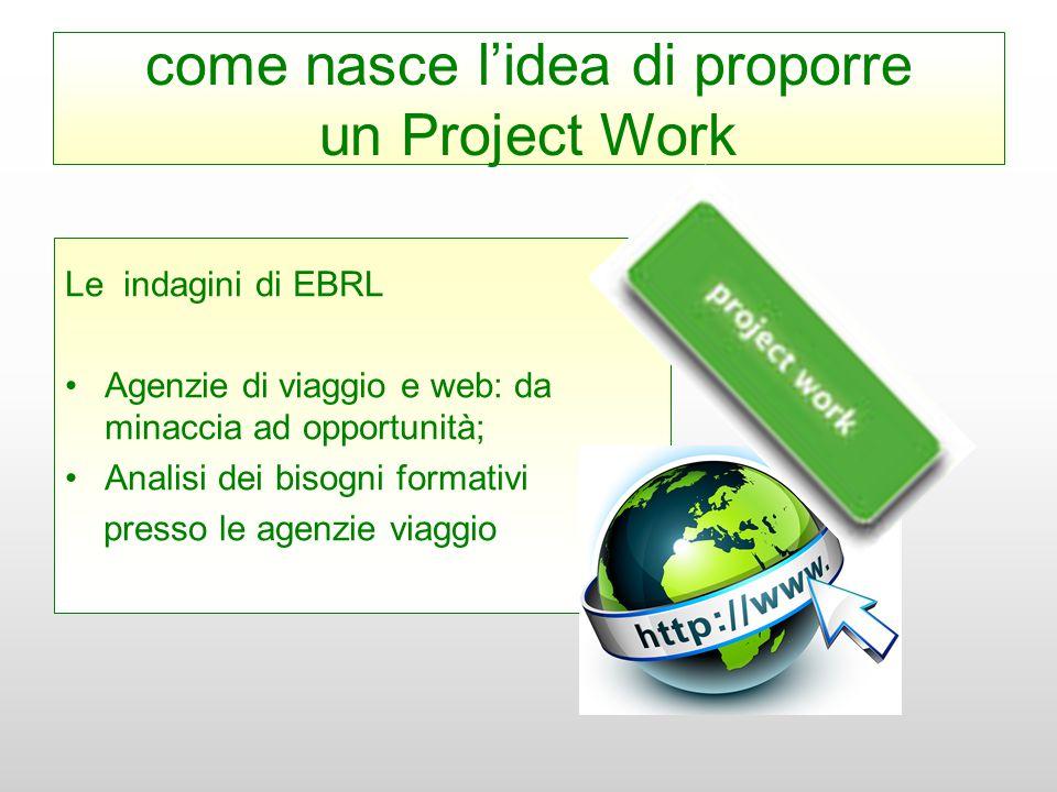 come nasce l'idea di proporre un Project Work Le indagini di EBRL Agenzie di viaggio e web: da minaccia ad opportunità; Analisi dei bisogni formativi