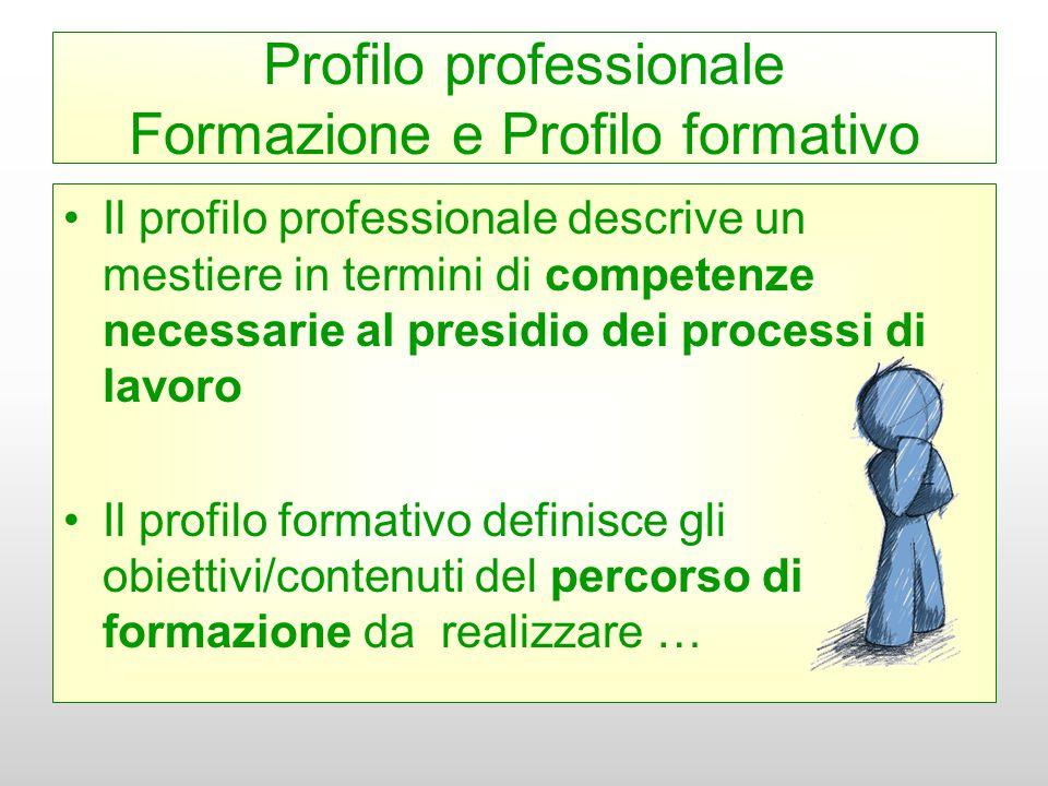 Profilo professionale Formazione e Profilo formativo Il profilo professionale descrive un mestiere in termini di competenze necessarie al presidio dei