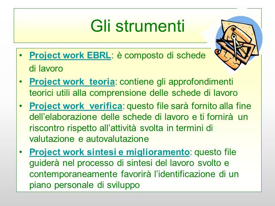 Gli strumenti Project work EBRL: è composto di schedeProject work EBRL di lavoro Project work_teoria: contiene gli approfondimenti teorici utili alla