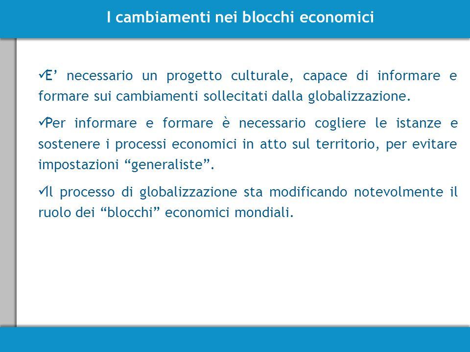 I cambiamenti nei blocchi economici E' necessario un progetto culturale, capace di informare e formare sui cambiamenti sollecitati dalla globalizzazione.