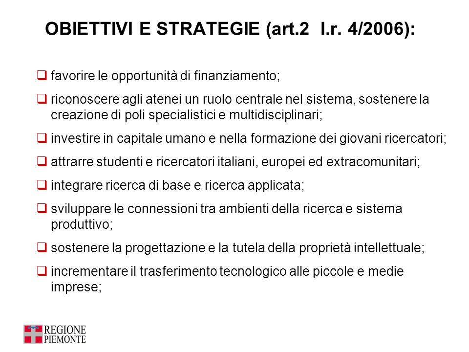 OBIETTIVI E STRATEGIE (art.2 l.r. 4/2006):  favorire le opportunità di finanziamento;  riconoscere agli atenei un ruolo centrale nel sistema, sosten