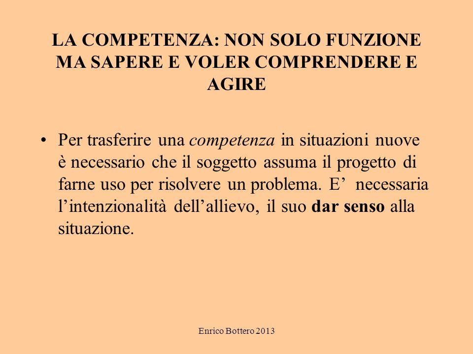 Enrico Bottero 2013 LA COMPETENZA: NON SOLO FUNZIONE MA SAPERE E VOLER COMPRENDERE E AGIRE Per trasferire una competenza in situazioni nuove è necessa