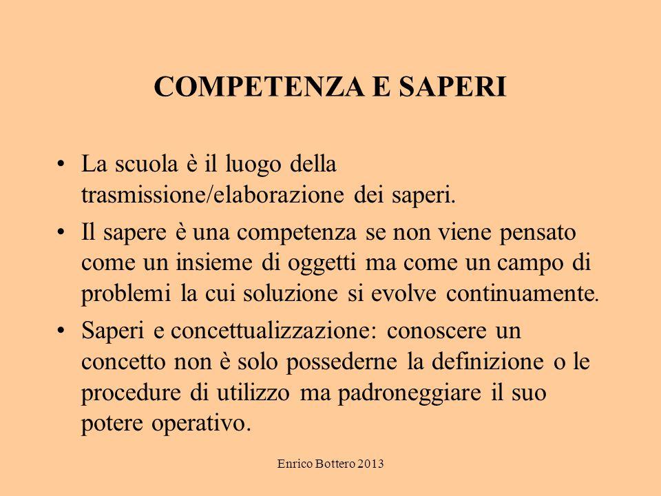 Enrico Bottero 2013 COMPETENZA E SAPERI La scuola è il luogo della trasmissione/elaborazione dei saperi. Il sapere è una competenza se non viene pensa