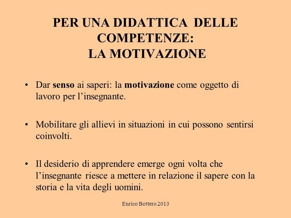Enrico Bottero 2013 PER UNA DIDATTICA DELLE COMPETENZE: LA MOTIVAZIONE Dar senso ai saperi: la motivazione come oggetto di lavoro per l'insegnante. Mo