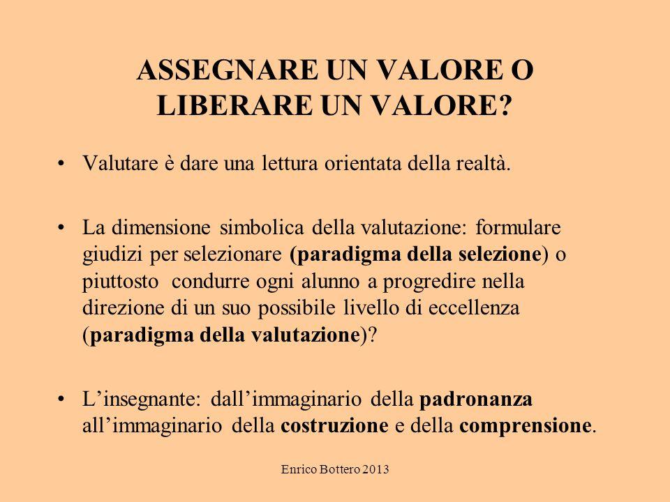 Enrico Bottero 2013 ASSEGNARE UN VALORE O LIBERARE UN VALORE? Valutare è dare una lettura orientata della realtà. La dimensione simbolica della valuta