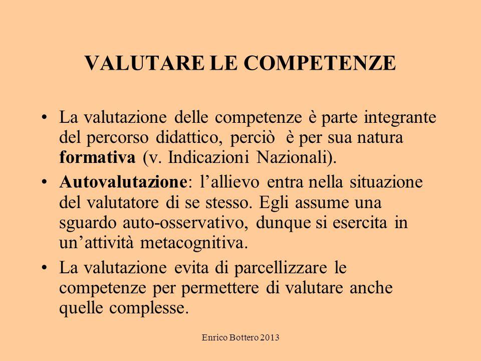 Enrico Bottero 2013 VALUTARE LE COMPETENZE La valutazione delle competenze è parte integrante del percorso didattico, perciò è per sua natura formativ