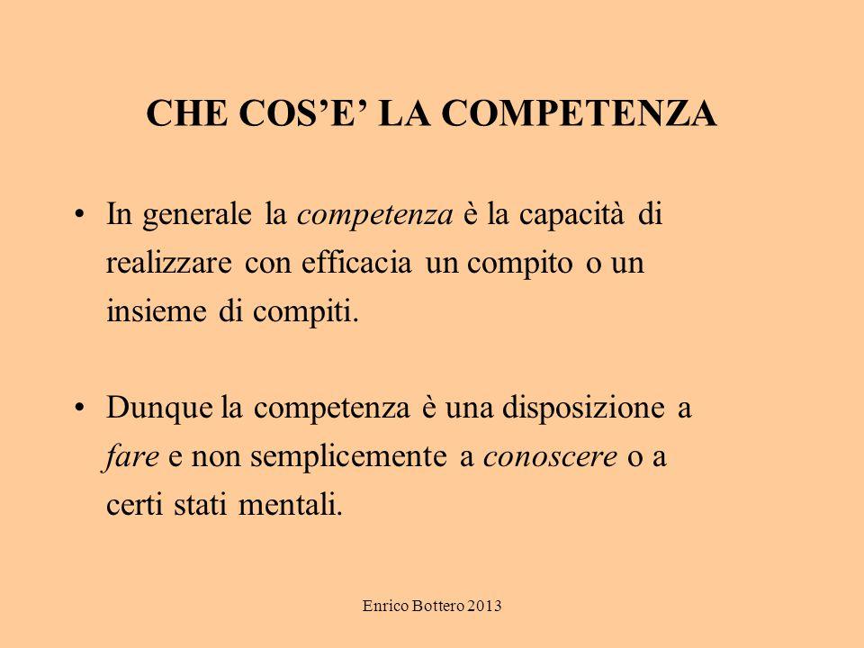 Enrico Bottero 2013 CHE COS'E' LA COMPETENZA In generale la competenza è la capacità di realizzare con efficacia un compito o un insieme di compiti. D
