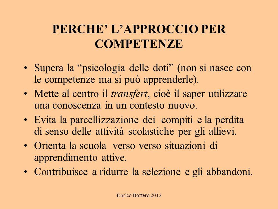 """Enrico Bottero 2013 PERCHE' L'APPROCCIO PER COMPETENZE Supera la """"psicologia delle doti"""" (non si nasce con le competenze ma si può apprenderle). Mette"""