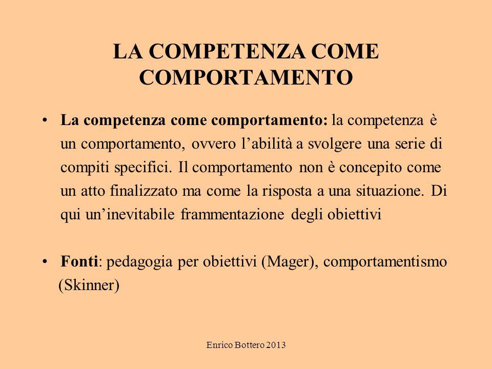 Enrico Bottero 2013 LA COMPETENZA COME COMPORTAMENTO La competenza come comportamento: la competenza è un comportamento, ovvero l'abilità a svolgere u